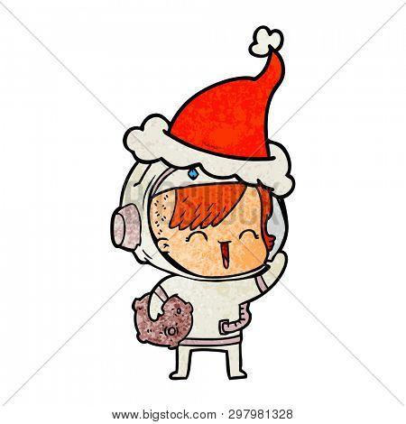 hand drawn textured cartoon of a happy spacegirl holding moon rock wearing santa hat