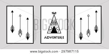 Nursery Wall Decor Of Wigwam Or Tipi In Scandinavian Style. Inscription Adventure And Arrows For Pri