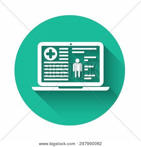 White Medical Clinical Record On Laptop Icon Isolated With Long Shadow. Health Insurance Form. Docum