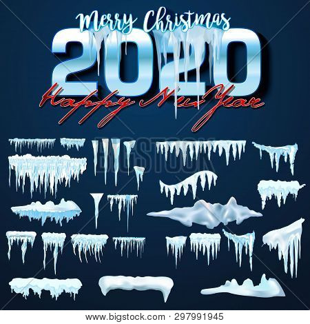 2020 Vector Collection Of Snow Caps, Pile, Icicles, Isolated On Background, Transparent, Ice, Snowba