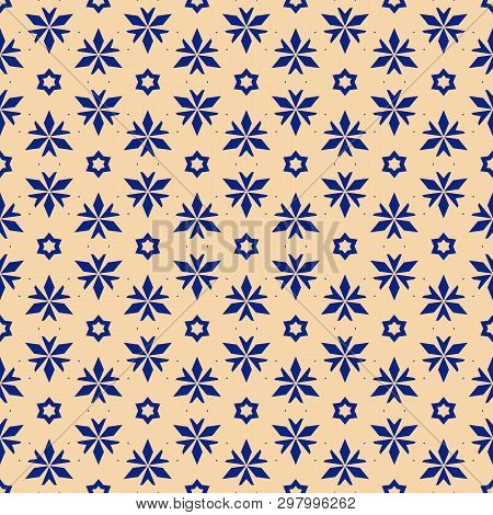 Vector Floral Seamless Pattern. Elegant Christmas Background. Yellow And Blue Geometric Texture With