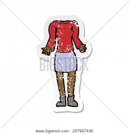 retro distressed sticker of a cartoon female body with shrugging shoulders
