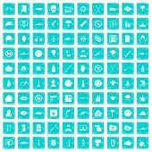 100 oppression icons set in grunge style blue color isolated on white background illustration poster