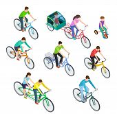 Isometric people bike. Man woman riding bikes outdoor, bicyclists. Active family biking. Cyclist bicycle 3d vector isolated set. Illustration of cyclist isometric, sport woman and man riding poster