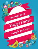 Easter greeting card with egg and ribbon poster