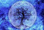 tree of life symbol on structured ornamental background, flower of life pattern, yggdrasil. poster