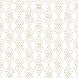 Vector Golden Lines Texture. Luxury Geometric Seamless Pattern With Diamonds, Rhombuses, Thin Crossi