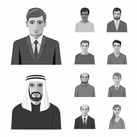 Isolated Object Of Face And Person Icon. Set Of Face And Portrait Stock Vector Illustration.