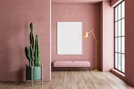 Interior Of Minimalistic Living Room With Pink Walls, Wooden Floor, Large Window, Pink Bench With Ve