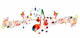 Music Background With Colorful Music Notes Vector Illustration Design. Artistic Music Festival Poste