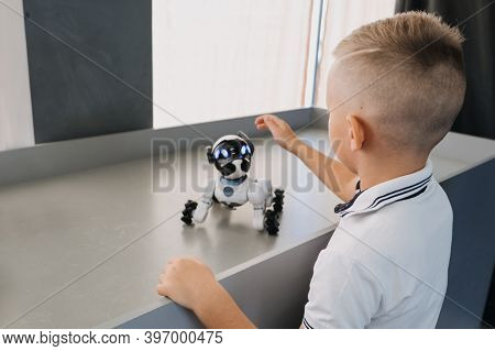 Little Boy Playing With Interactive Remote Control Robot Dog Toy. Kid And Smart Dancing Robot Toy, I