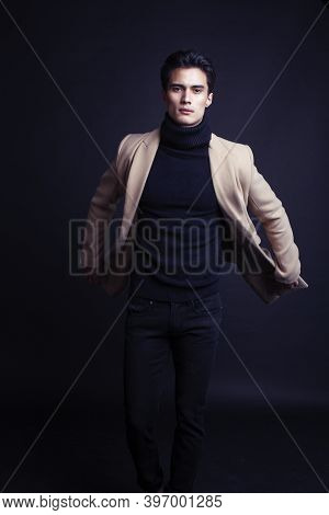 Handsome Asian Fashion Looking Man Posing In Studio On Black Background, Lifestyle Modern People Con