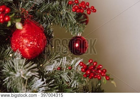 Christmas Tree With Red Balls And Stars. Winter Holiday Background.
