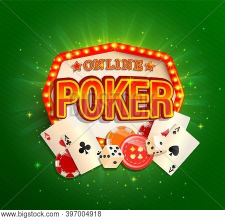 Online Poker Banner In Vintage Light Frame With Poker Cards, Playing Dice, Chips And Other Gambling