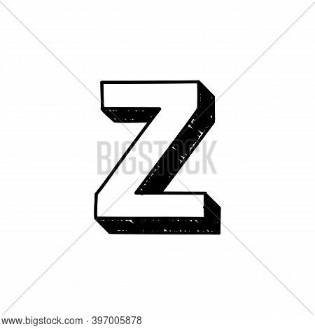 Z Letter Hand-drawn Symbol. Vector Illustration Of A Small English Letter Z. Hand-drawn Black And Wh