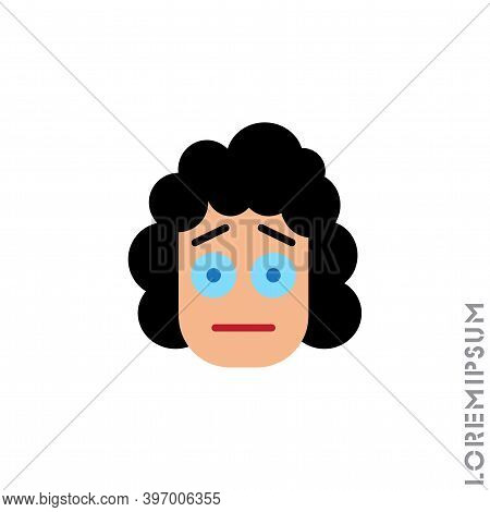 Cute Girl, Woman Icon Emoticon Sticker, Vector Illustration. Embarrassed Shy Blushing Face Emoticon