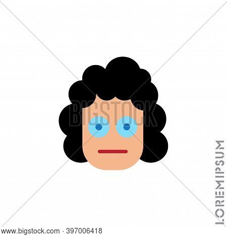 Meh Girl, Woman Icon Vector, Emoticon Symbol. Modern Flat Symbol For Web And Mobil Apps. Sad Face Em