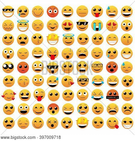 Set Of Emoticon Vector Isolated On White Background. Emoji Vector. Smile Icon Collection. Emoticon I