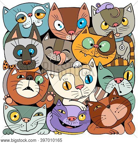 Vector Illustration. Funny Cartoon. Cheerful Crowd Of Multicolored Cats. Square Print.