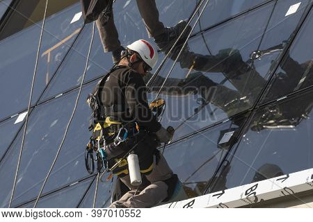 Zaragoza, Spain - Sep. 30, 2020: Specialist Technical Workers Carry Out Maintenance And Rehabilitati