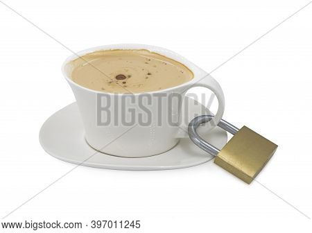 A Cup Of Coffee Or Cappuccino Locked With A Padlock During The Coronavirus Time