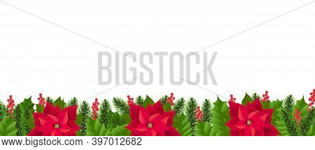 Red Poinsettia Border Isolated White Background With Gradient Mesh, Vector Illustration