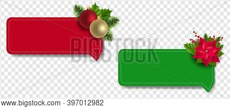 Christmas Labels Set With Christmas Holly Berry And Poinsettia Transparent Background With Gradient