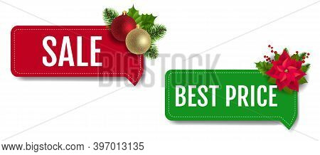 Christmas Sale Labels Set With Christmas Holly Berry And Poinsettia White Background With Gradient M