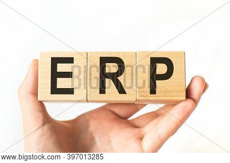 Word Erp Made With Wood Building Blocks, Stock Image. Enterprise Resource Planning Concept