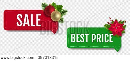 Christmas Sale Labels Set With Christmas Holly Berry And Poinsettia Transparent Background With Grad