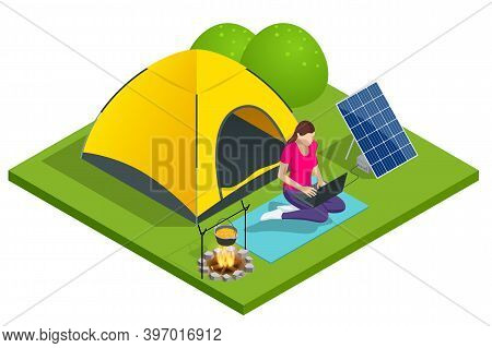 Isometric Turistic Camp Or Campground With Tent And Campfire. The Girl Works On A Laptop, Which Is C