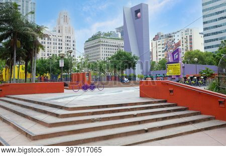 LOS ANGELES - CALIFORNIA: JUNE 18, 2019: Pershing Square is a small public park in Downtown Los Angeles, named in honor of Gen. John J. Pershing.