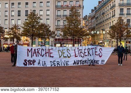 November 28  2020, Lyon, Rhône Alpes Auvergne : Protest Against The
