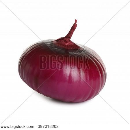 Fresh Red Onion Bulb Isolated On White