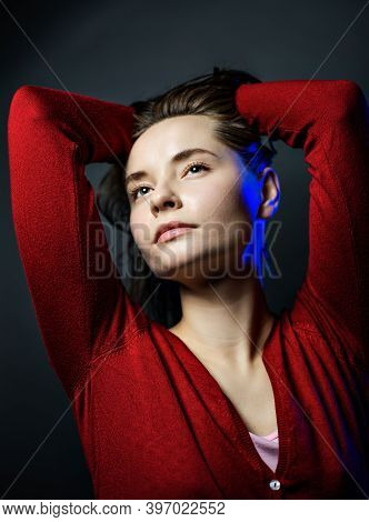 Emotional Portrait Of A Young Beautiful Girl In Vogue Style. Expressive Eyes And Energetic Gaze. Adv