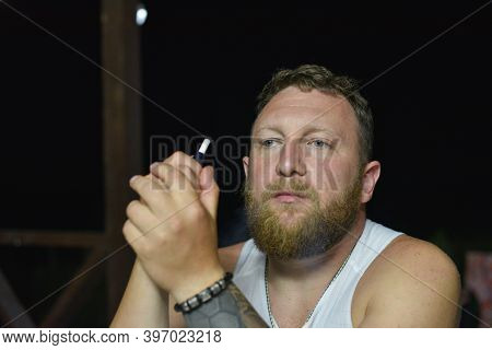 Close Up Portrait Of Fashionable Redhead Hipster Man. Redhead Man With Beard In White T-shirt