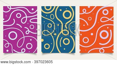 Set Of Cover Brochure Template Wavy Bold Line Pattern With Circle On Colorful Background Minimal Des