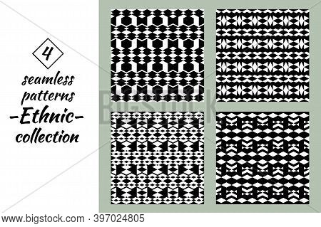 Rhombuses Figures Seamless Patterns Collection. Lozenges Forms Backdrops Kit. Diamond Shapes Ornamen
