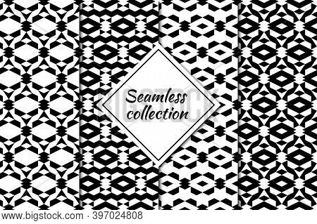 Rhombuses Figures Seamless Patterns Collection. Lozenges Forms Backdrops Kit. Folk Ornaments. Diamon
