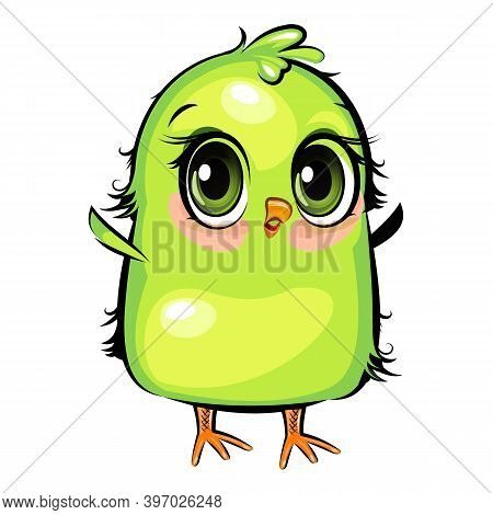 Small Parrot. The Funny Chick Is Trying To Take Off. Cute And Funny Chick. The Isolated Object On A
