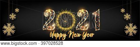 2021 New Year Horizontal Posters With Golden Light Background Text Vector Illustration - Happy New Y