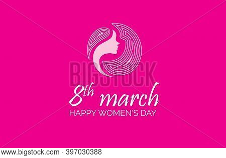 Happy Women Day Holiday Illustration. Paper Cut Girl Head Silhouette Cutout With Hand Drawn Spring A