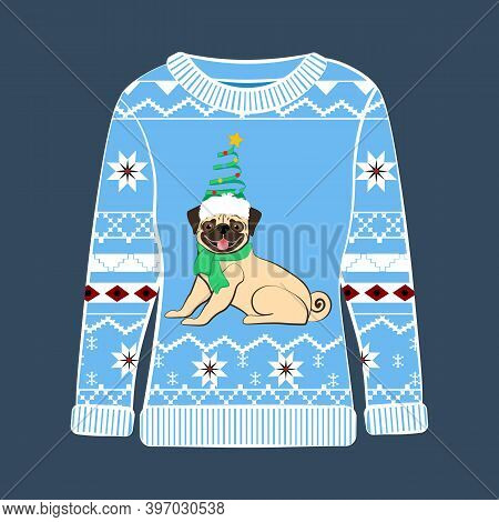 Christmas Party Ugly Sweater With Pug Vector Illustration