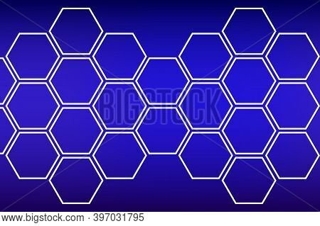 White Honeycombs On A Blue Background. Polygonal Texture. Hi-tech Abstract Background With Honeycomb
