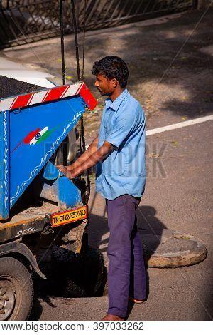 Chennai, Tamil Nadu, India - Nov 28 2020: Chennai City Metro Water Supply And Sewage Board Worker Cl