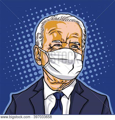 Elected President Of The United States Of America, Joe Biden Wearing Mask Portrait Pop Art Backgroun