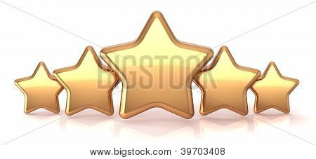 Gold stars five golden star service award business success decoration