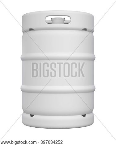 Clay Render Of Metal Beer Keg With The Lid Isolated On White Background - 3d Illustration