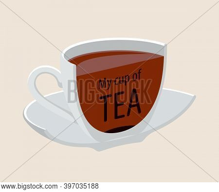 Tea Cup Drink Breakfast Vector Isolated. Modern Design Herbal Teacup With Saucer For Cafe.