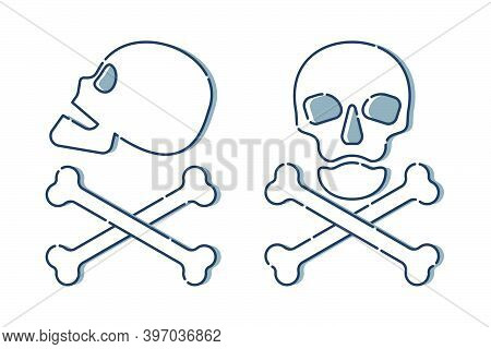 Human Skull In Side And Full Face View And Crossbones On White Background. Isolated Illustration In